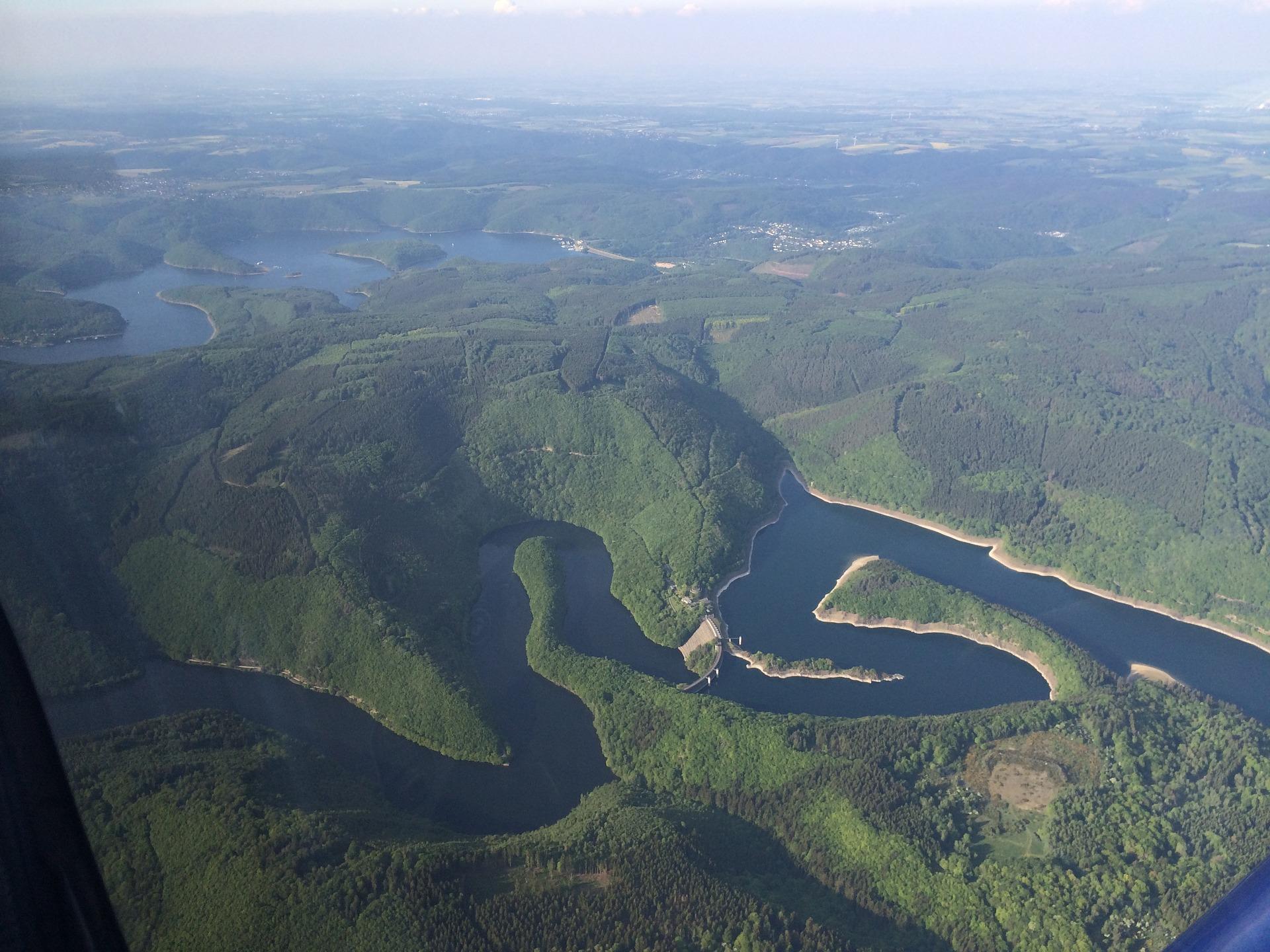 Luftbild Rursee Uftstaumauer